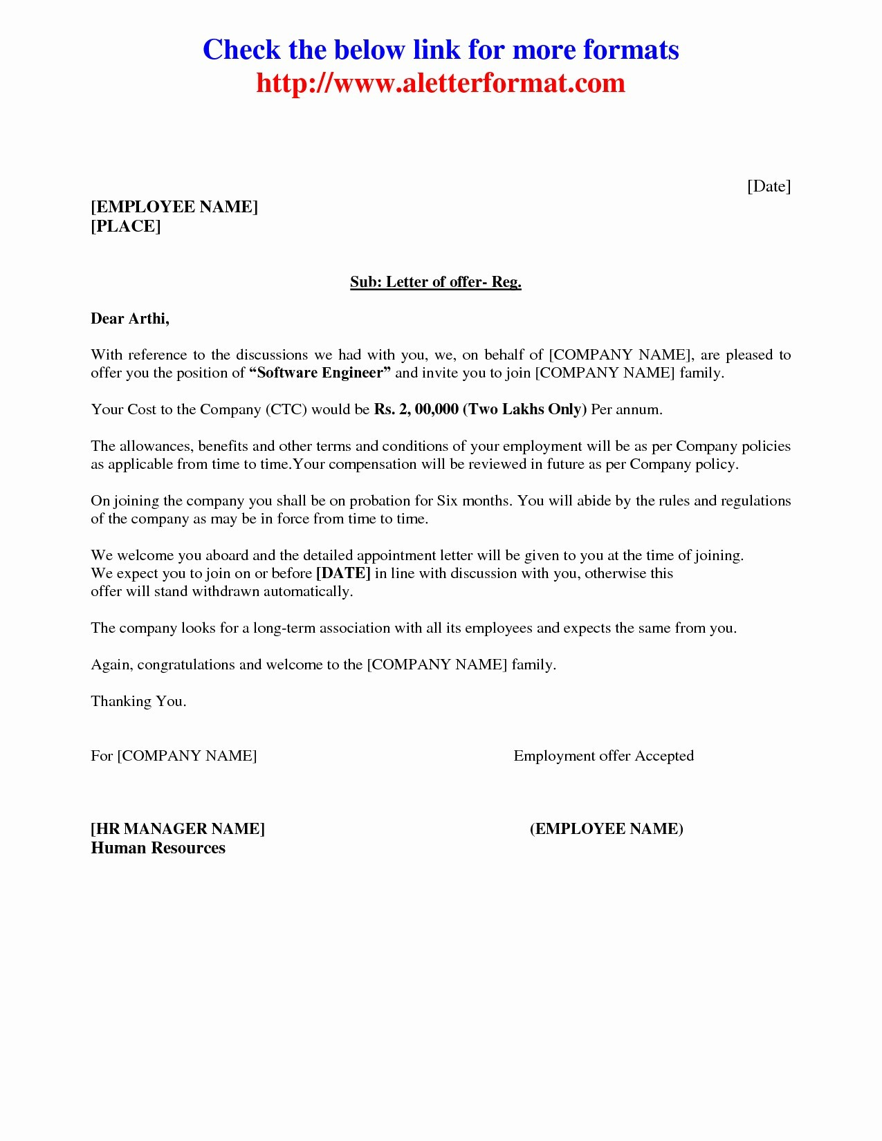 Job Offer Letter Template Pdf Examples Letter Cover Templates