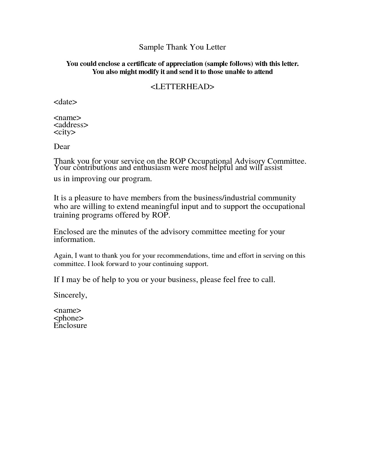 Interview Thank You Letter Template - Appreciation Letter Sample Acurnamedia