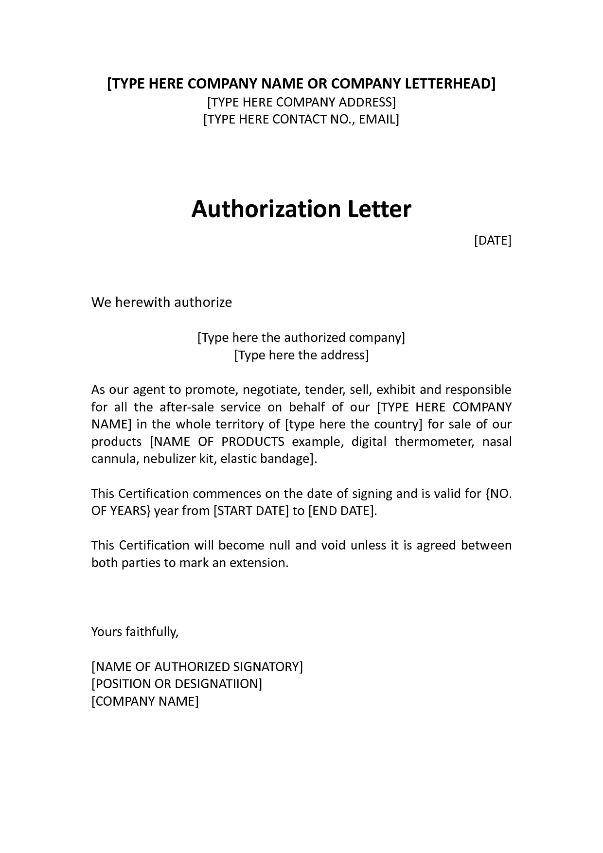 Letter Of Intent to Evict Template - Authorization Distributor Letter Sample Distributor Dealer