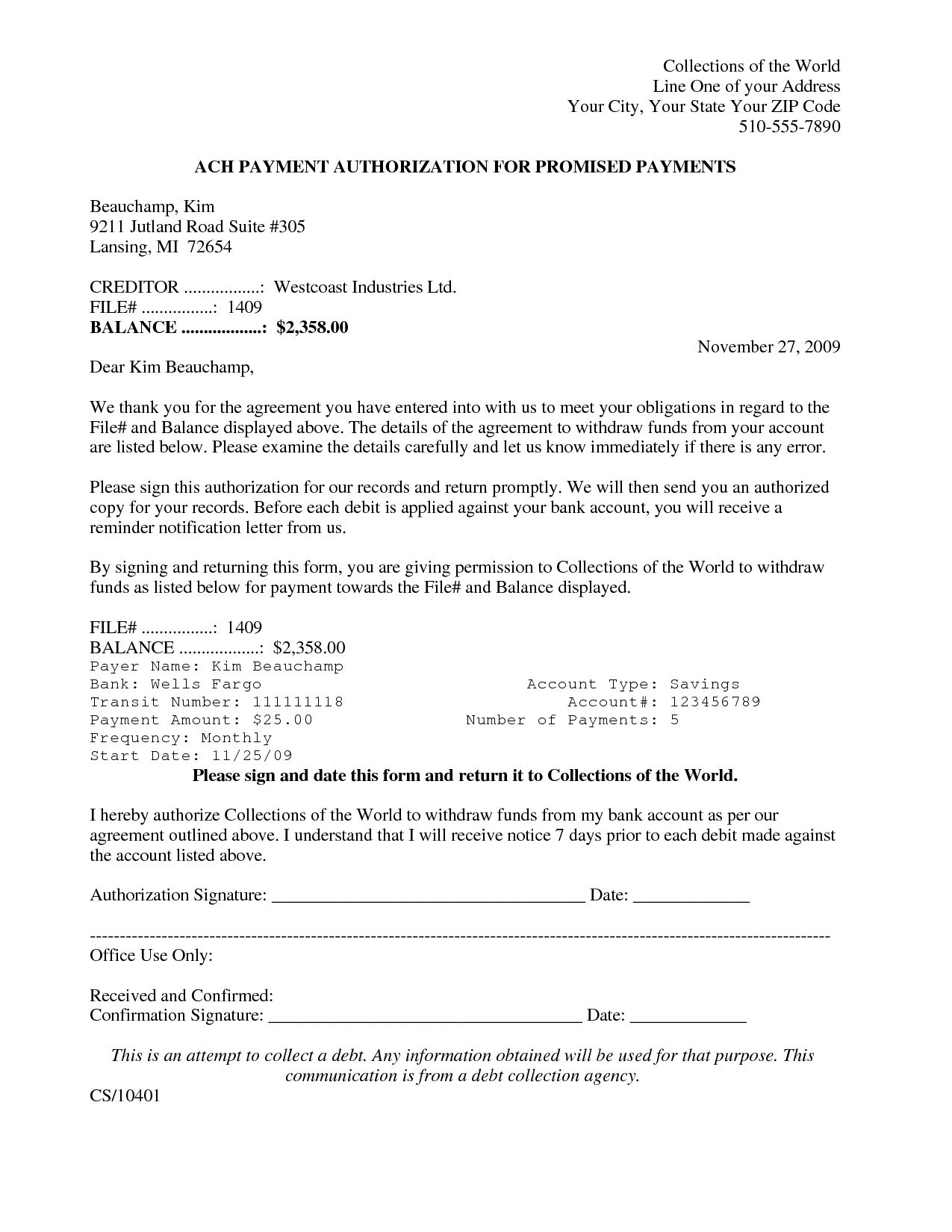 Ach Revocation Letter Template - Authorization Letter for Use Of Credit Card Sample Of Authorization