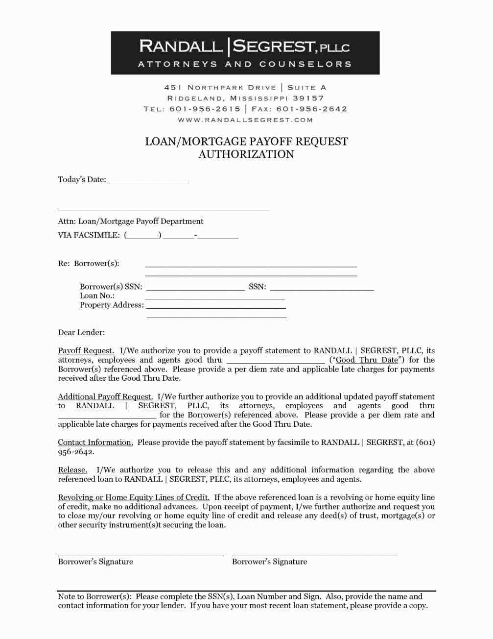 Mortgage Loan Payoff Letter Template - Authorization Letter Sample to Process Documents Fresh 8
