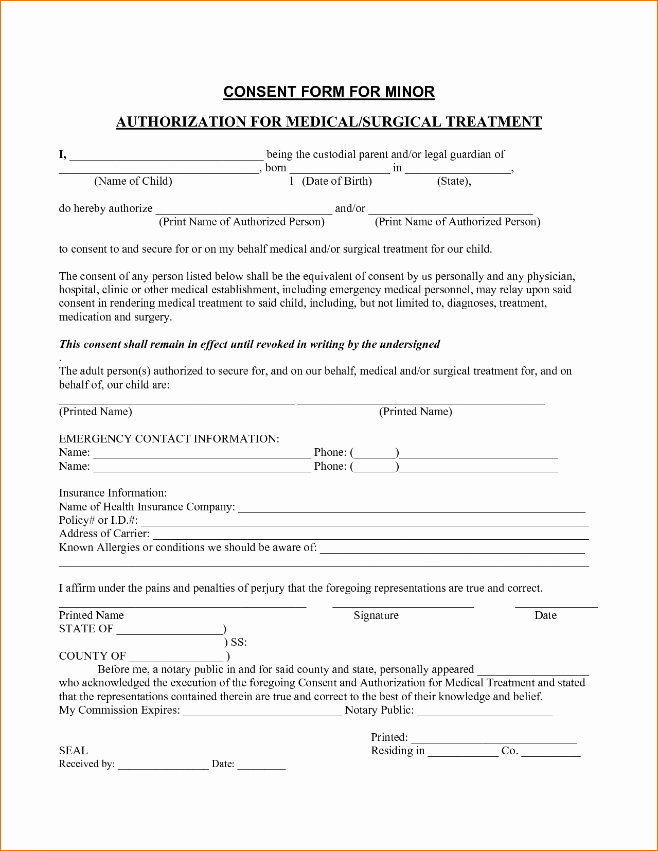 Invaluable image with free printable medical consent form for minor child