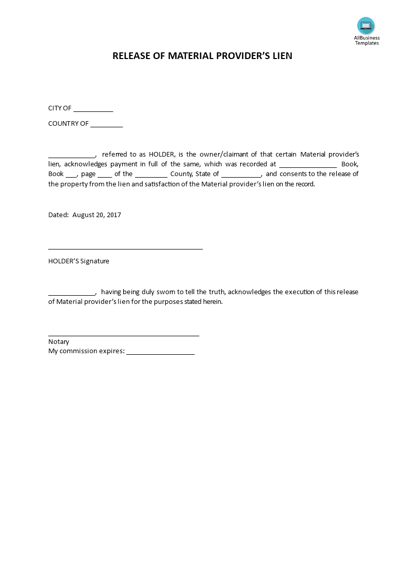 Lien Letter Template - Awesome Lien Release Letter Your Template Collection