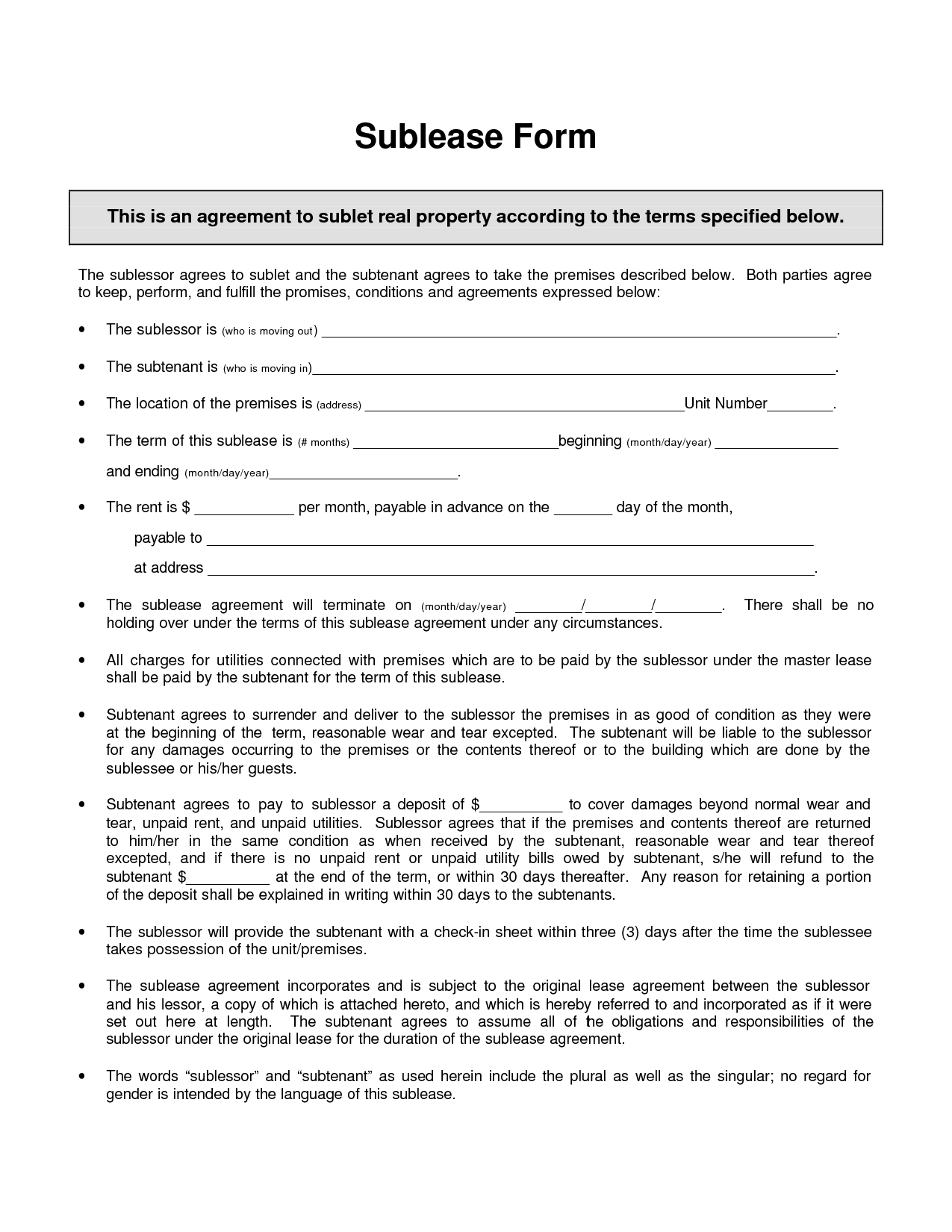 sublet letter template example-Awesome Sublease Template 18-k