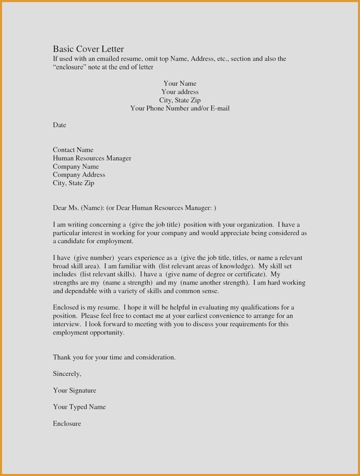 Quick Easy Cover Letter Template Samples