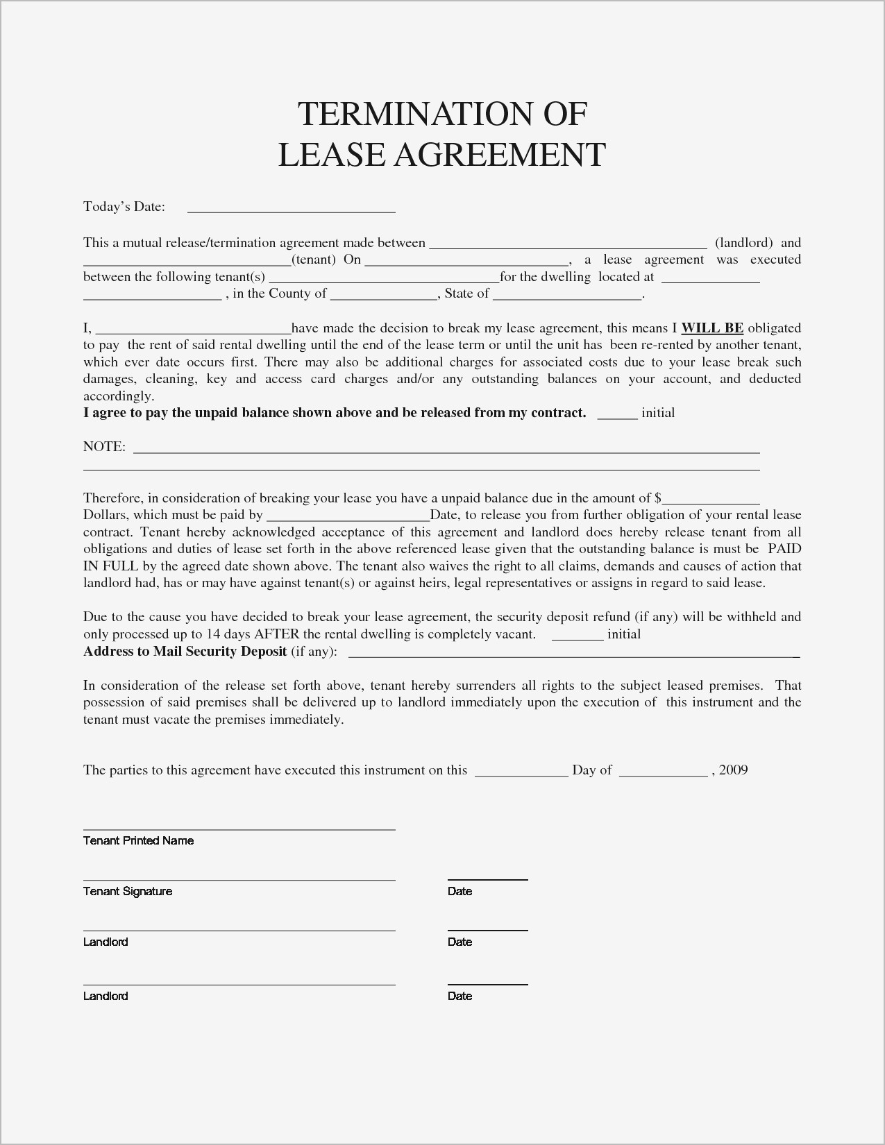 Breaking Lease Agreement Letter Template - Basic Lease Agreement Pdf format