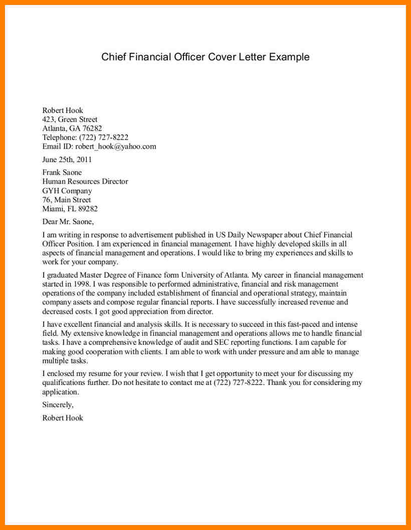 cfo cover letter template example-Best Ideas Cfo Cover Letters Enom Warb In Sample Cover Letter for Chief Financial ficer 14-h