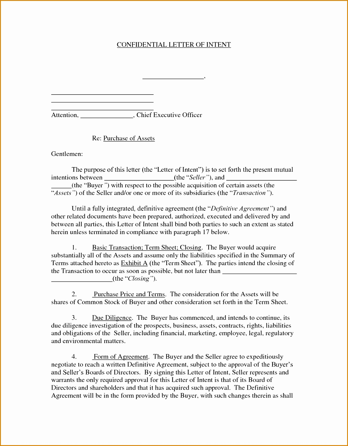 letter of intent to buy a business template - letter of intent to purchase equipment template collection