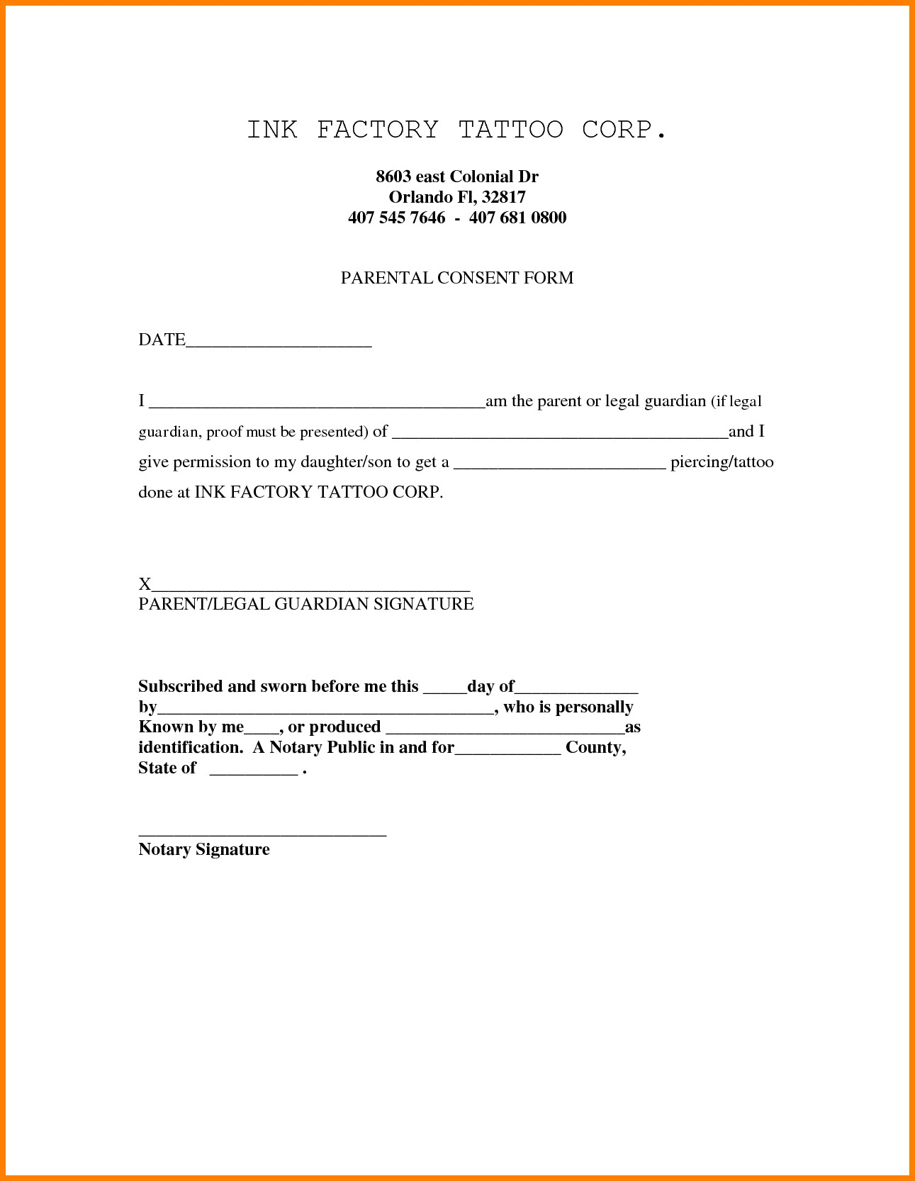 notarized letter for guardianship template