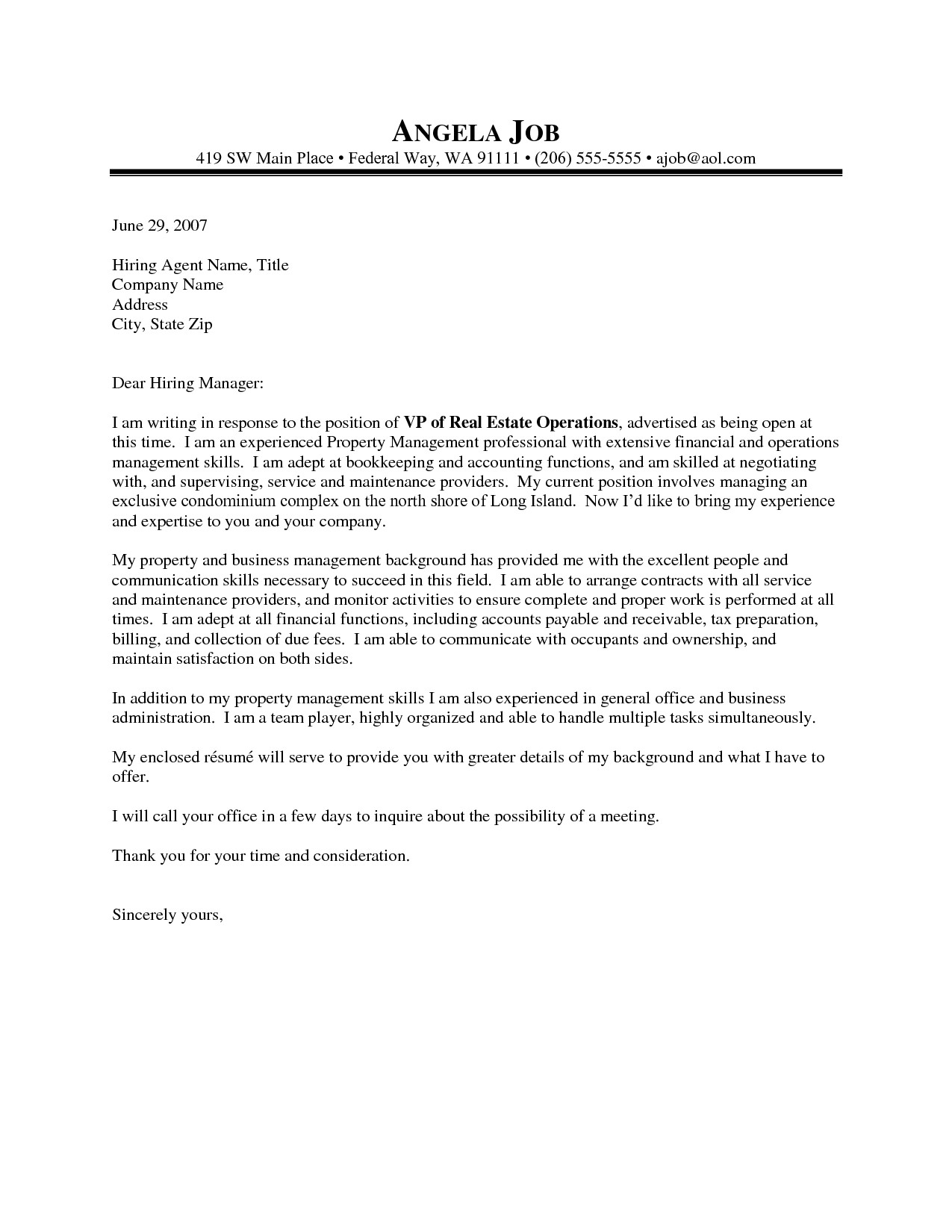 Property Management Cover Letter Template - Best Sample Resume Cover Letter Property Management