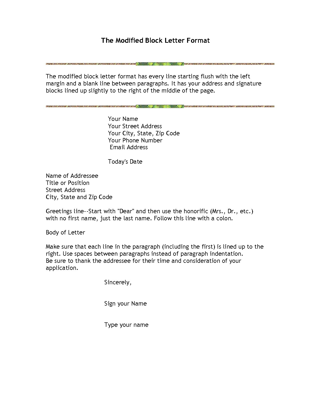 Modified Block Letter Template - Block Cover Letters Acurnamedia