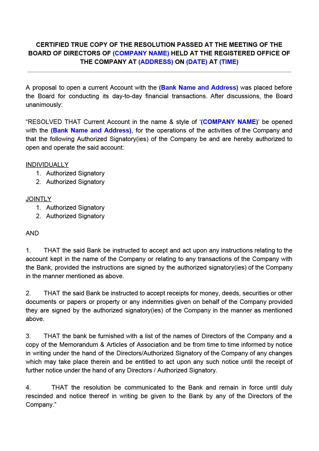 Corporate Resolution Letter Template - Board Resolution for Opening Bank Account Indiafilings Document
