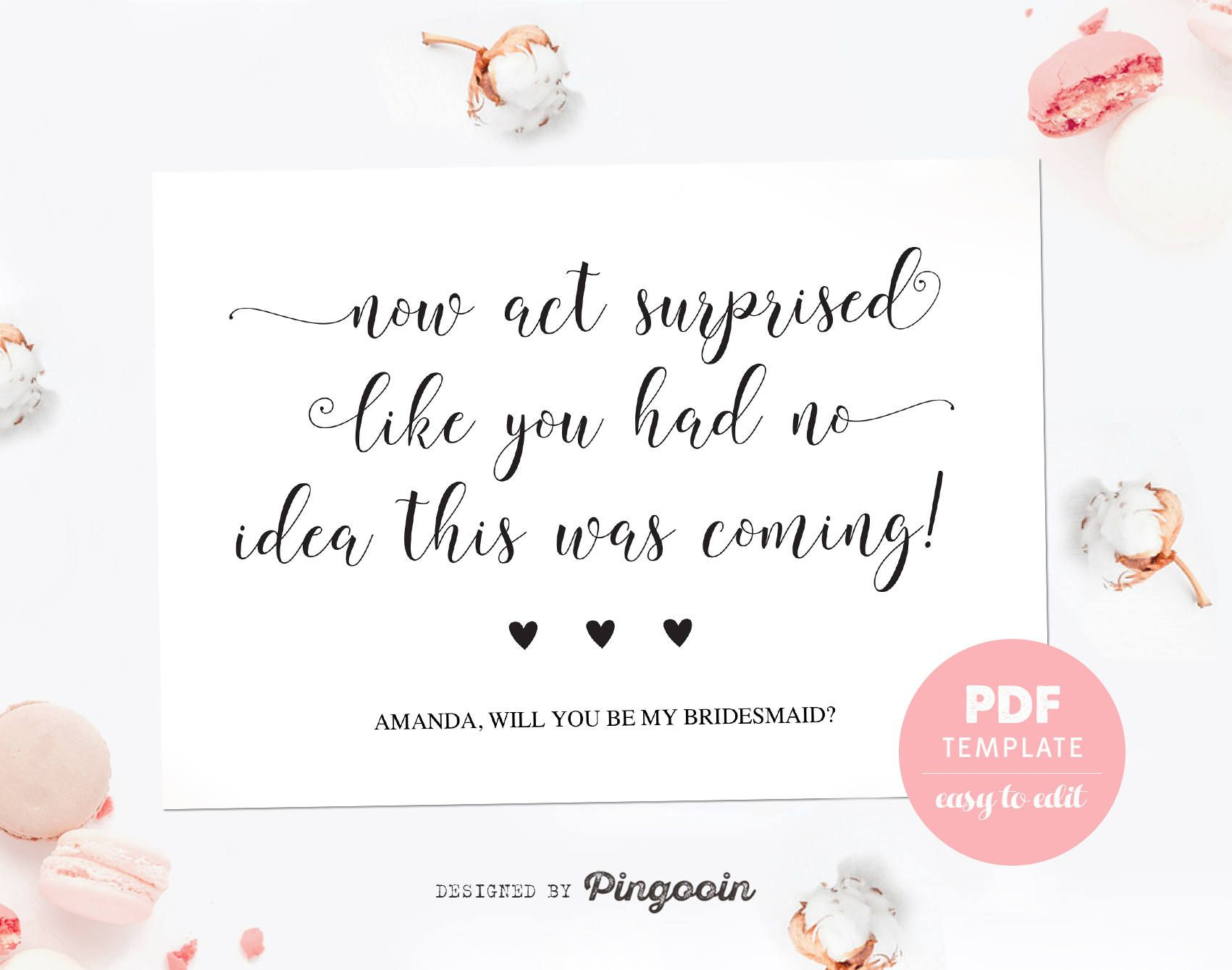 Will You Be My Bridesmaid Letter Template - Bridesmaid Card Funny Bridesmaid Template Card Made Of Honor Card
