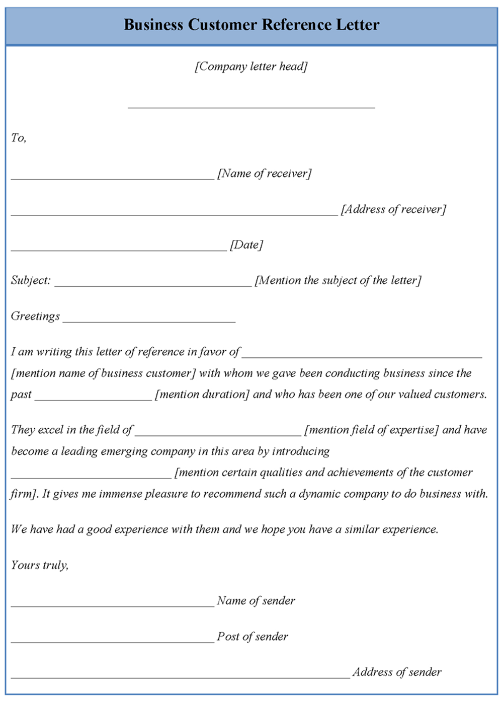 Customer Reference Letter Template - Business Letter Of Reference Template