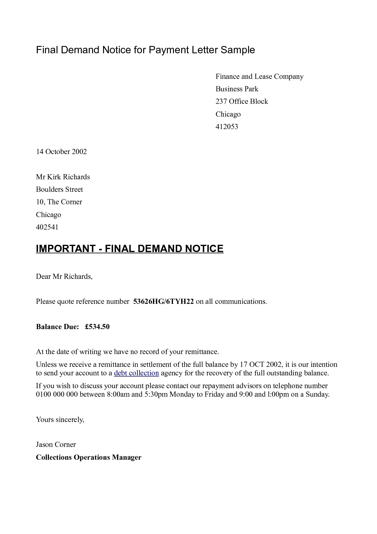 Final Demand for Payment Letter Template - Business Letter Template Request Payment Final Demand Sample
