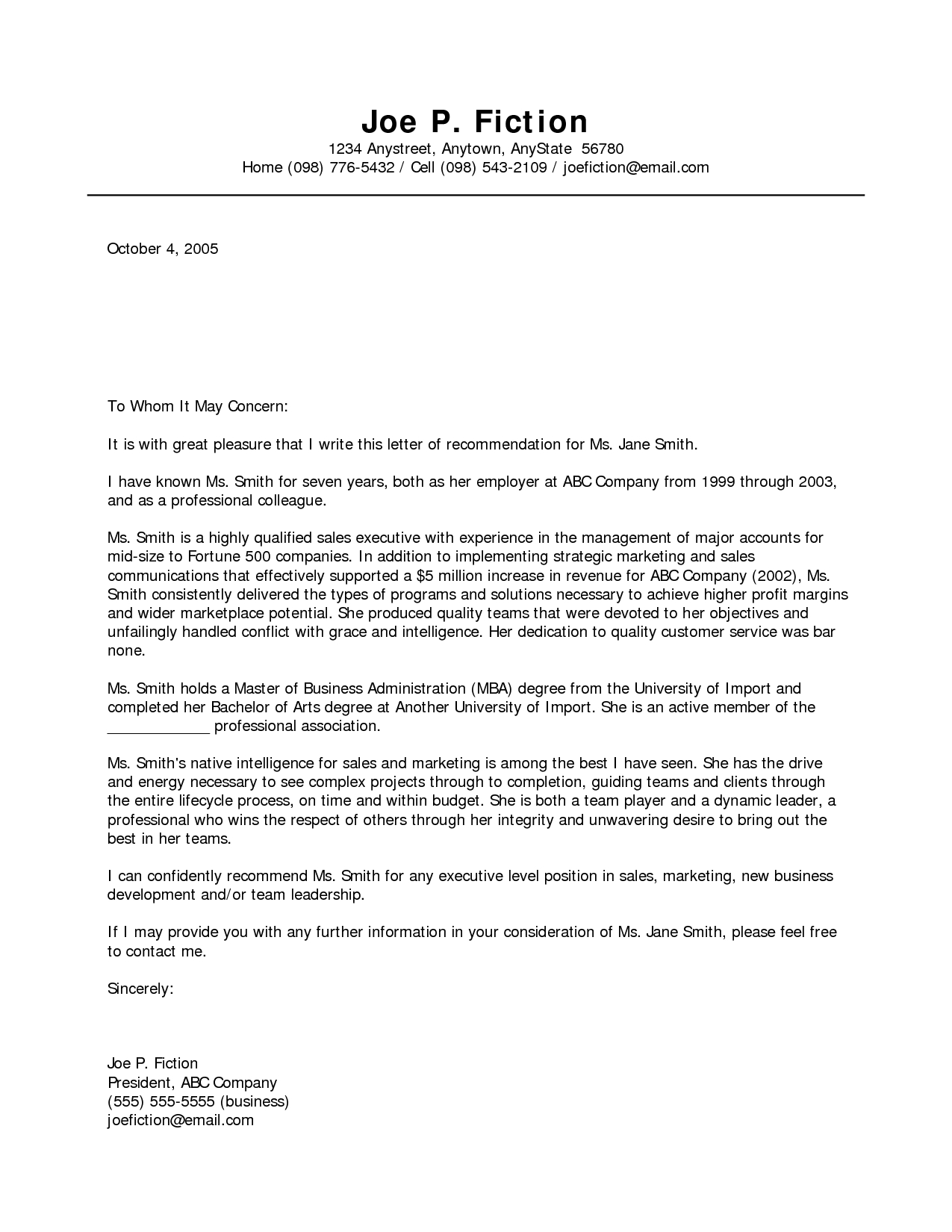 Letter Of Recommendation Template - Business Re Mendation Letter Template Acurnamedia