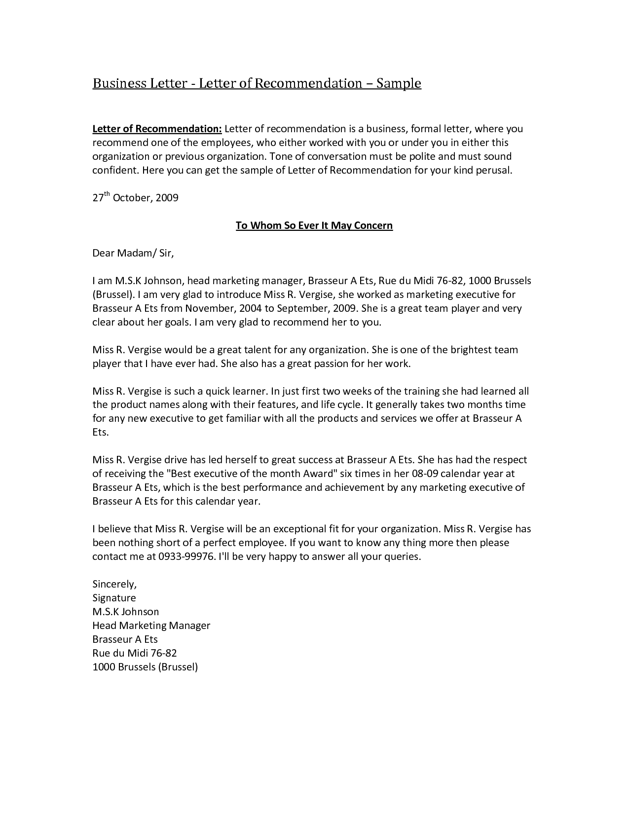 Reference Letter Template Word Document - Business Re Mendation Letter Template Acurnamedia