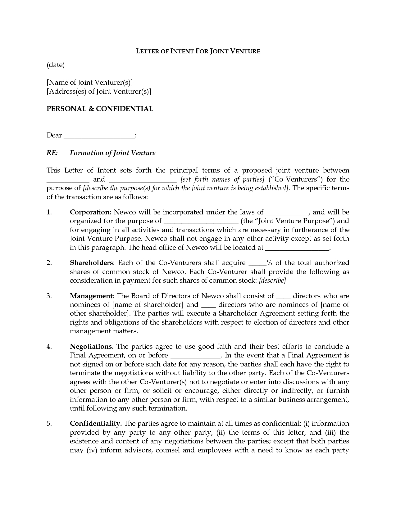 Free Joint Venture Proposal Letter Template - Businessr Intentrs Venture Melvillehighschool Image Ideas for