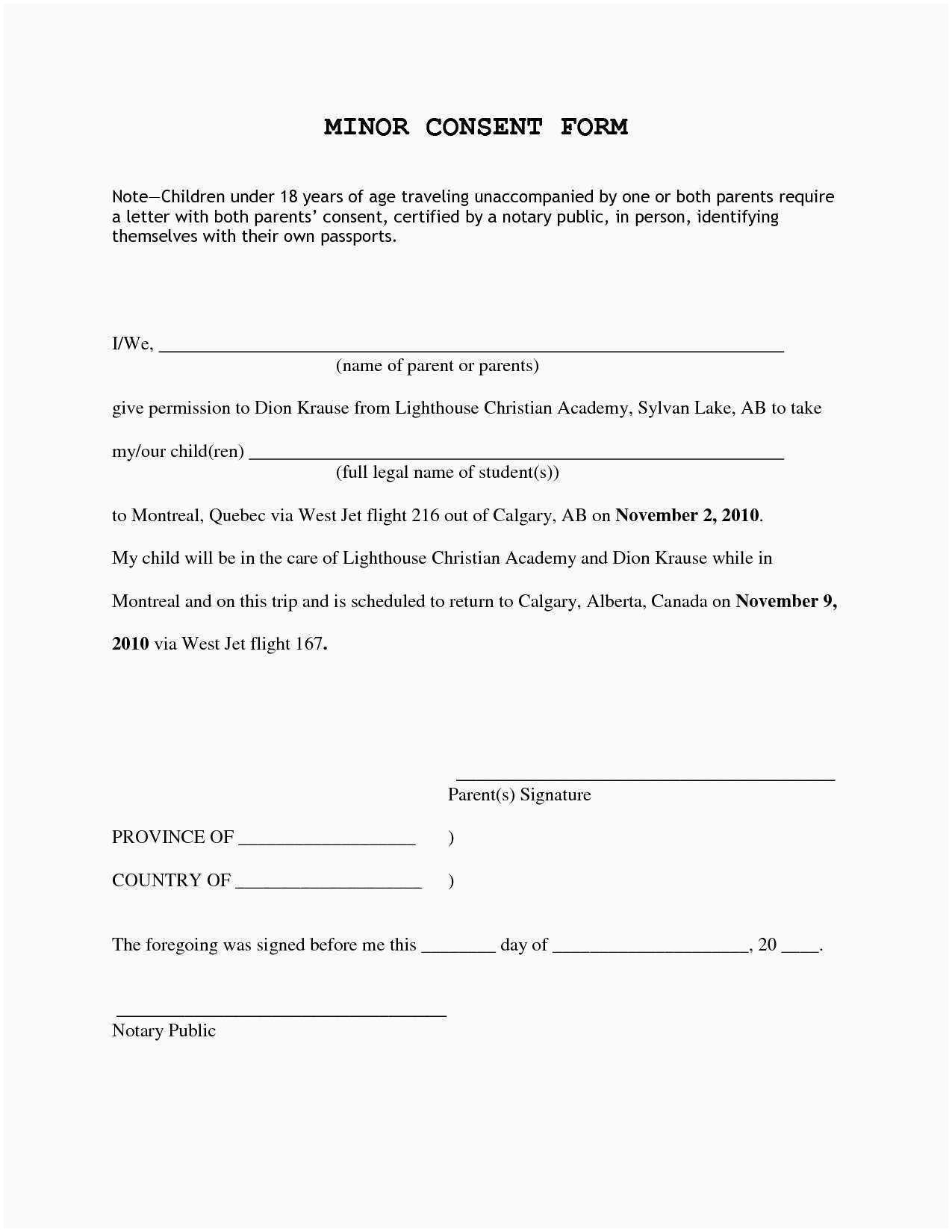 Child Travel Consent Letter Template - Careyhead Wp Content 2018 06 Consent Le