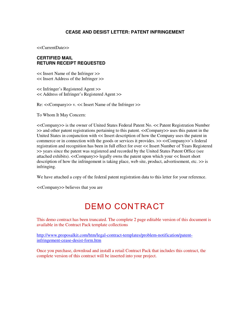 Cease and Desist Letter Template Business Name - Cease and Decease Letter Template Infringement Desist form Cp Patent