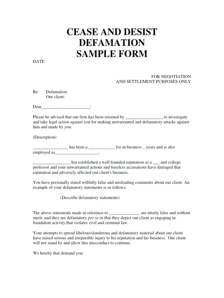 Cease and Decease Letter Template - Cease and Desist Letter Harassment Template Achievable Moreover