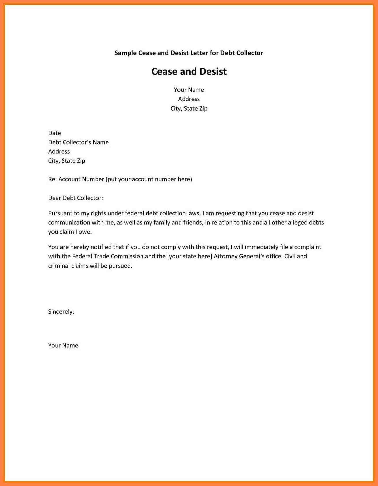 Cease and desist creditor letter template examples for Cease and desist letter template for debt collectors