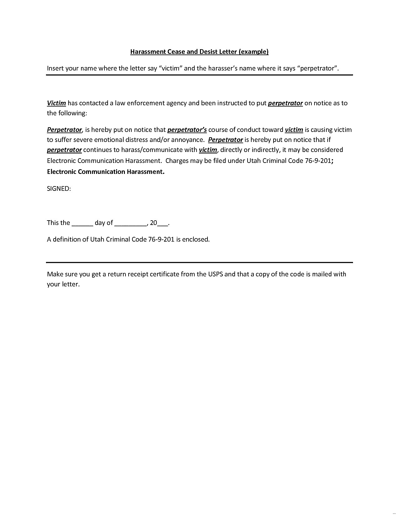 cease and desist letter harassment free cease and desist letter template for harassment 20795