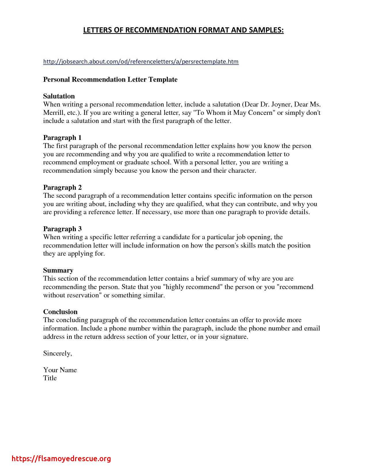 personal letter of recommendation for a job