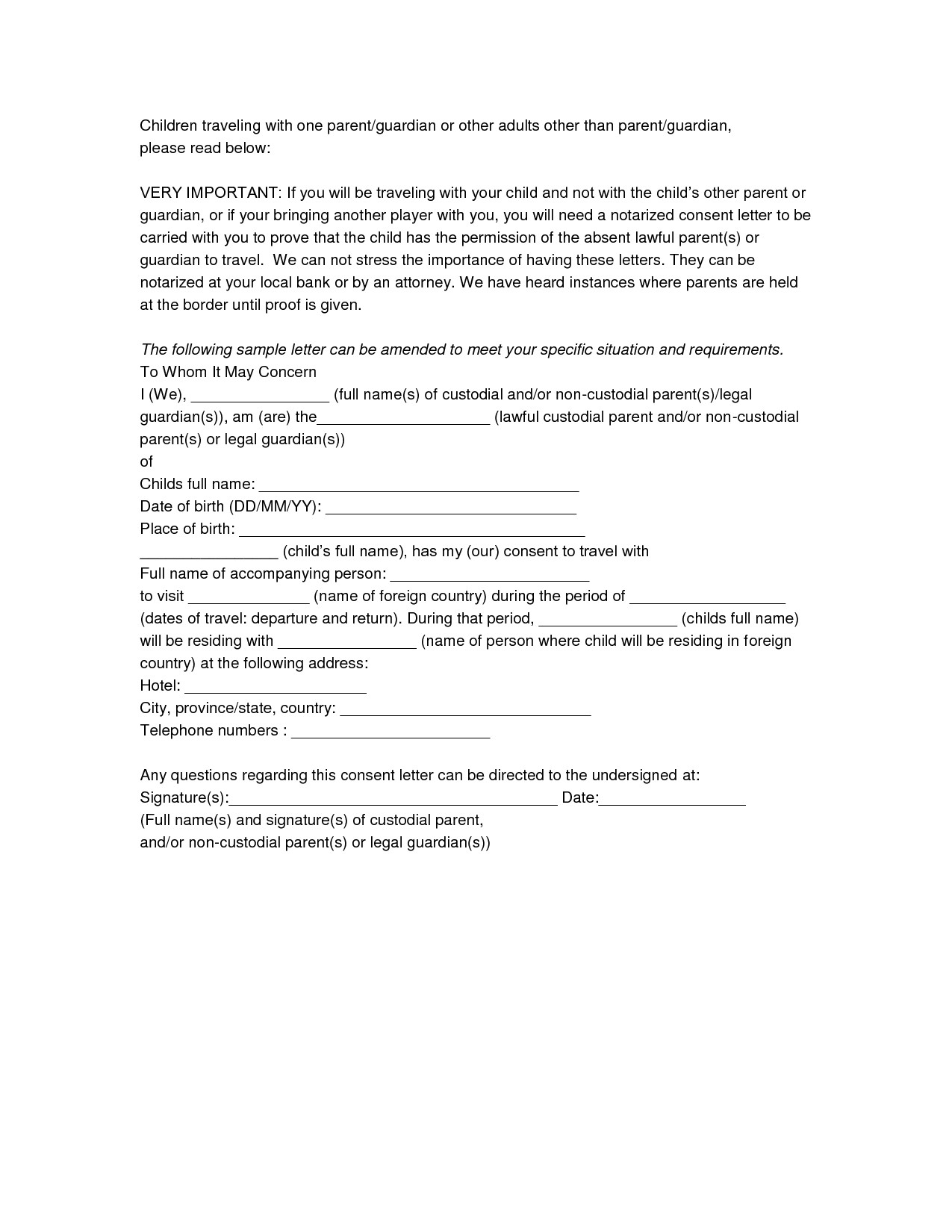 Notarized Travel Consent Letter Template - Child Support Letter Sampleparents Support Letter format Copy 17