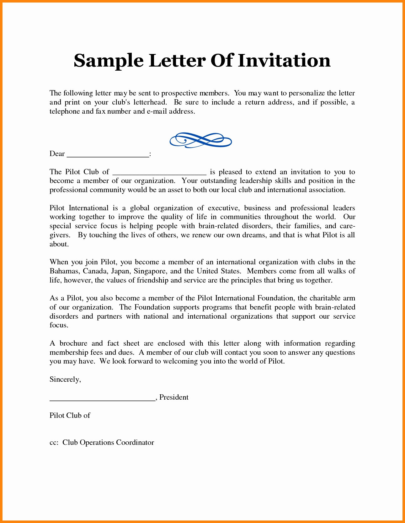 party invitation sample letter