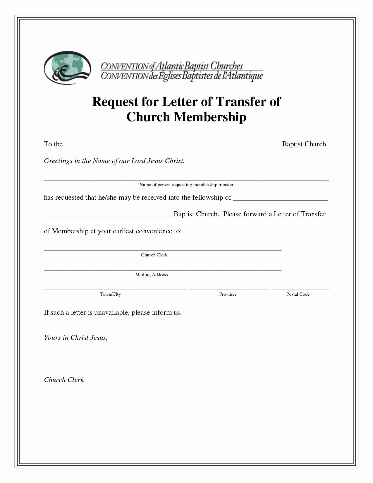 Sample Church Membership Transfer Letter Template - Church Membership Certificate Template Luxury Church Transfer Letter