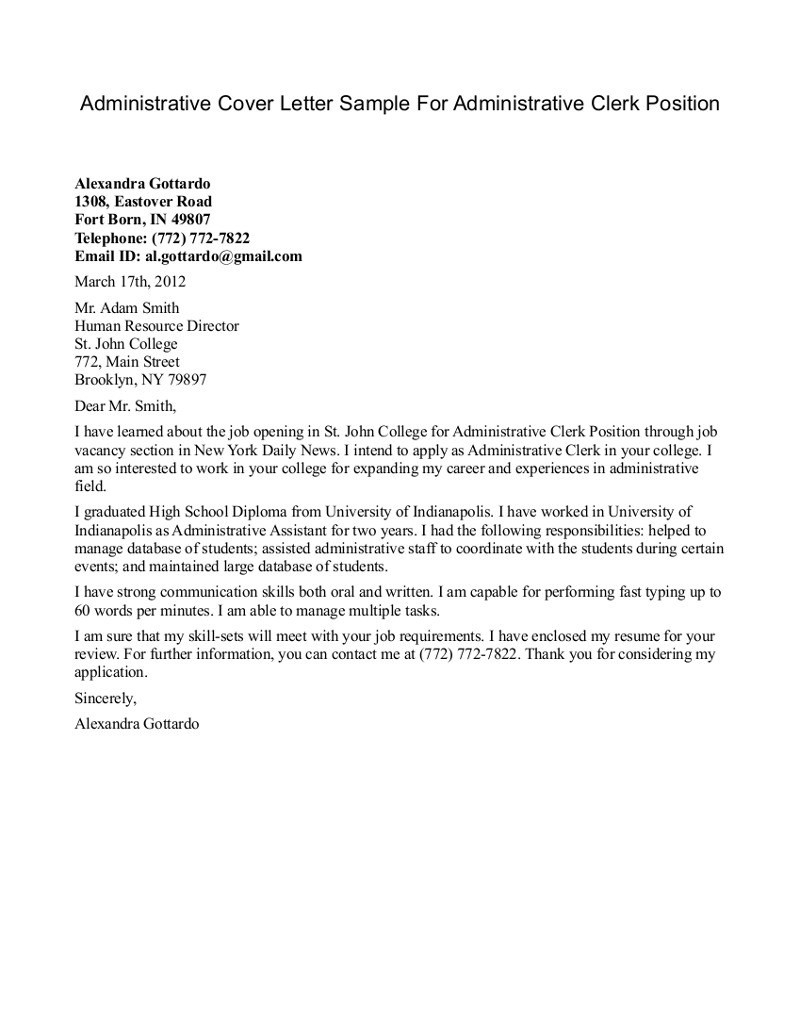 Clerical Cover Letter Template - Clerical Cover Letter Magnificent Cover Letter for Clerical Position