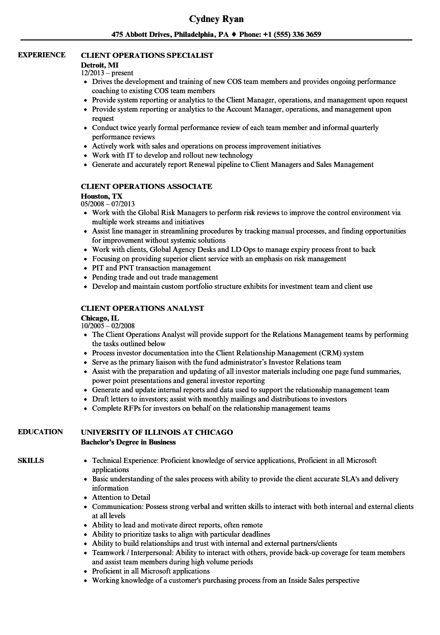 Aml Comfort Letter Template - Client Operations Resume Samples