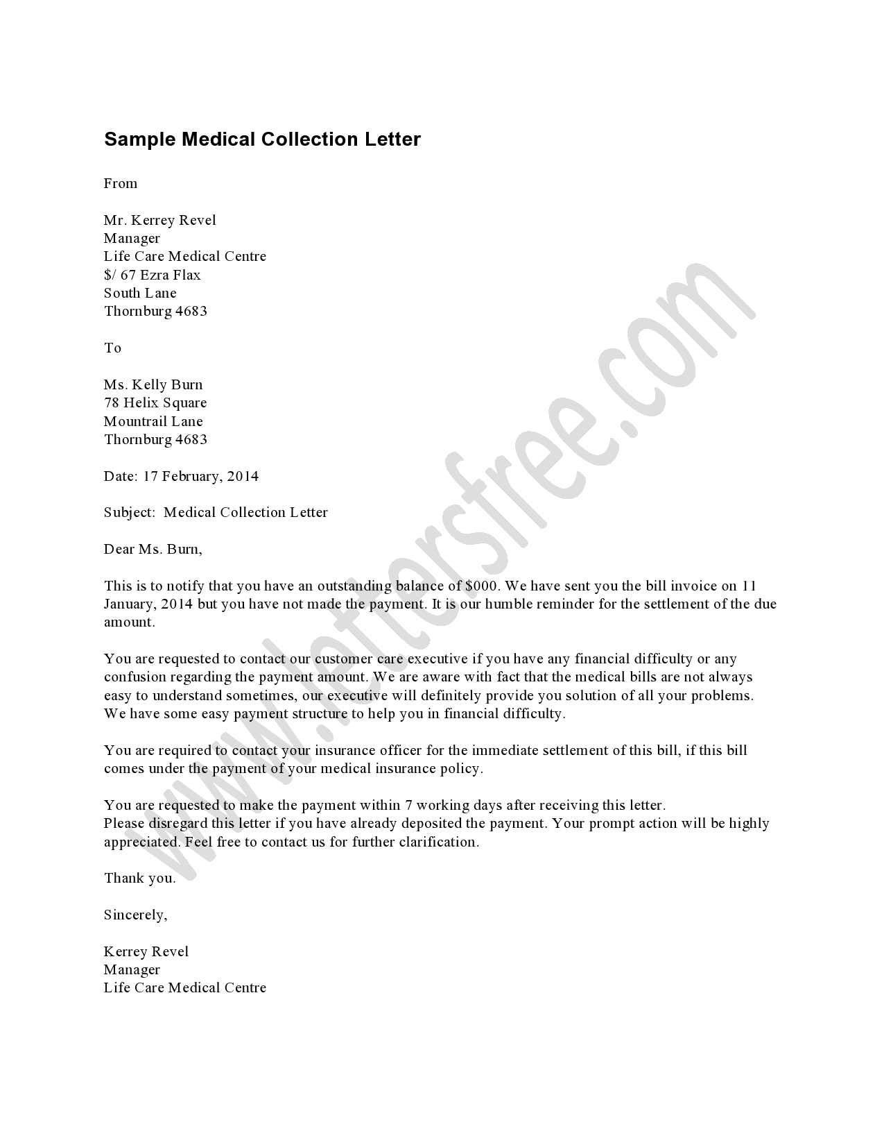 Hipaa Letter Medical Collection Template Collection