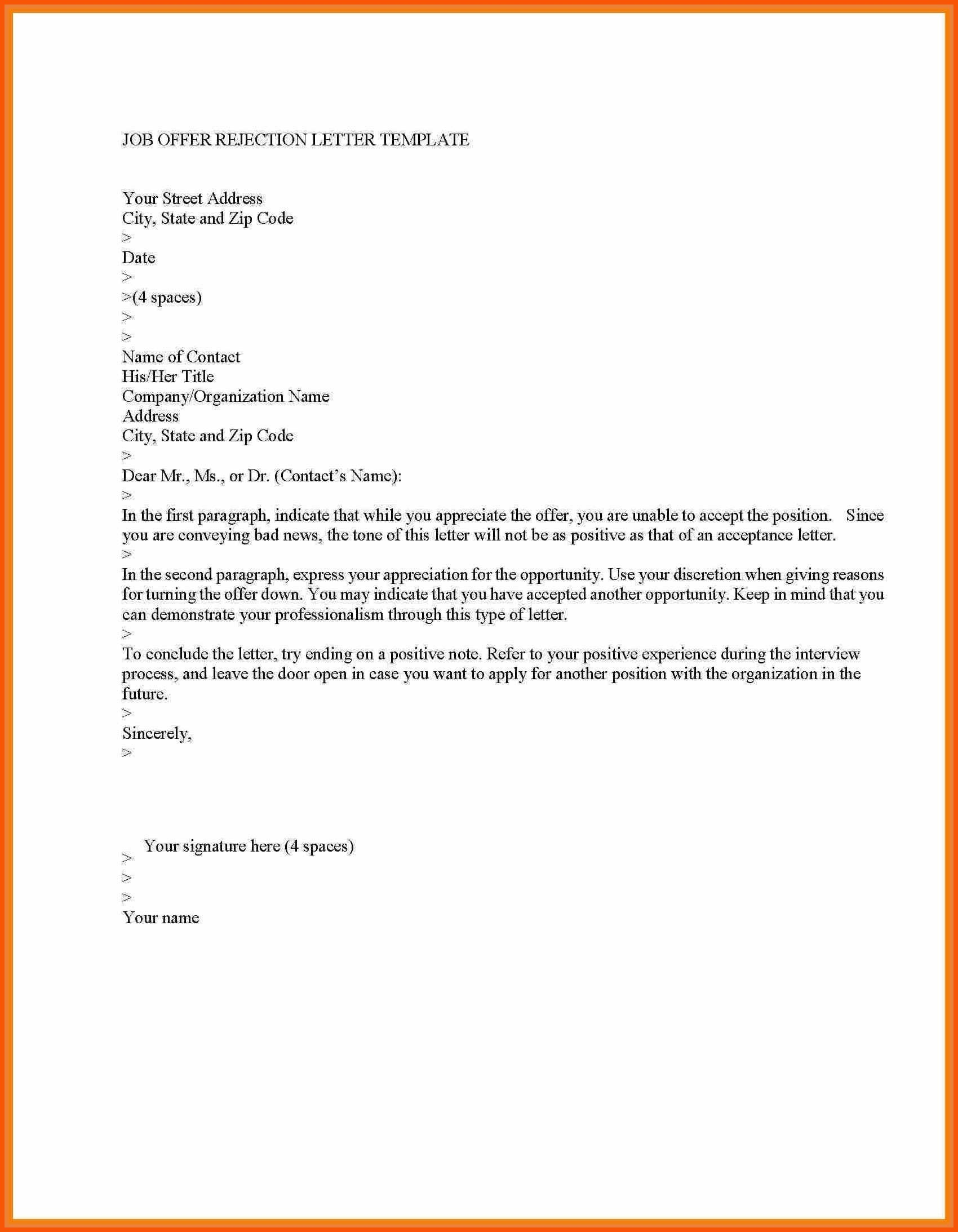 Rejection Letter Template - College Rejection Letter Template