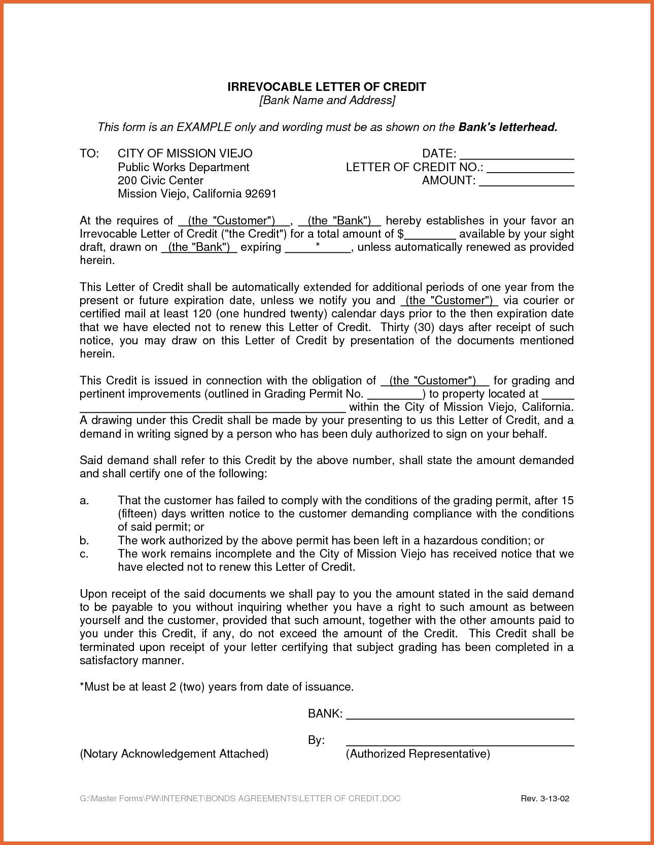 Irrevocable Letter Of Credit Template - Colorful Letter Credit Draft Template Mold Certificate Resume