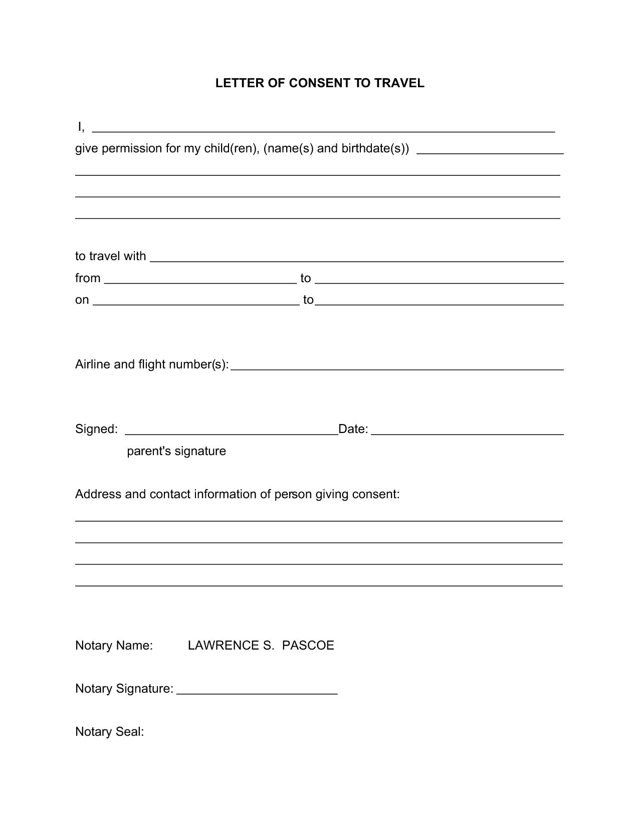 Child Travel Consent Letter Template   Consent Form Template For Children