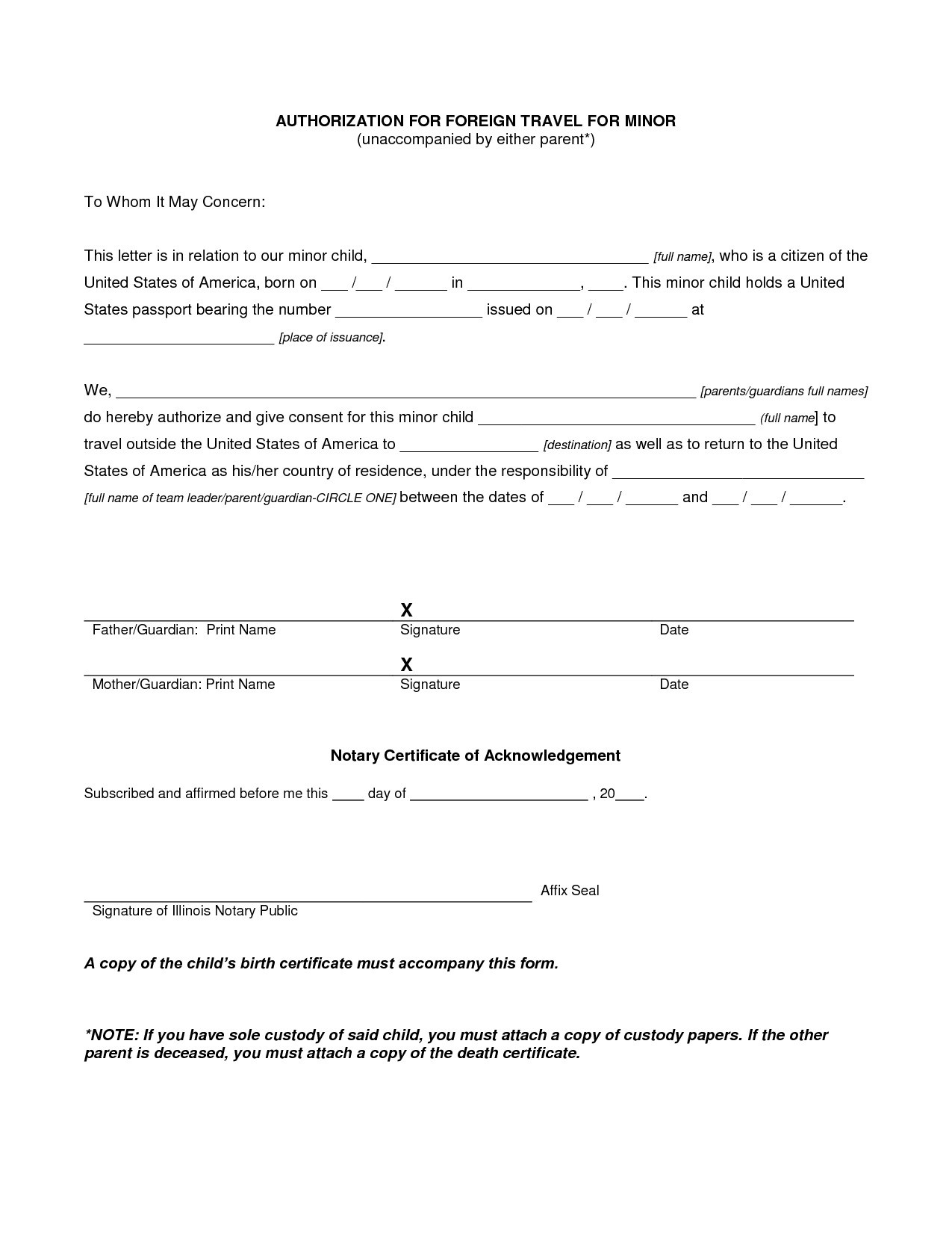 Letter Of Consent for Child to Travel Template - Consent Letter format New Sample Consent Letter for Children