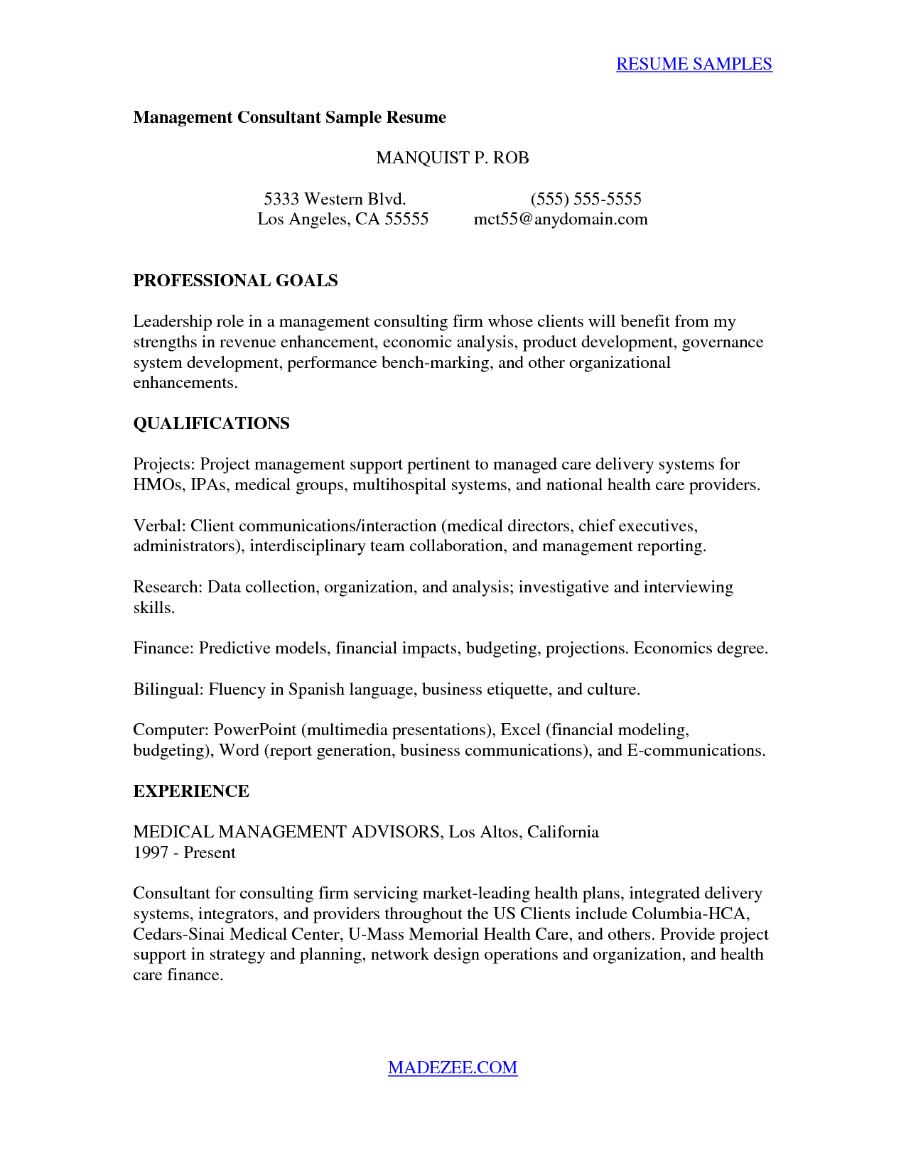 Sample Cover Letter for Internal Position Template - Consultant Sample Management Consulting Cover Letter Management