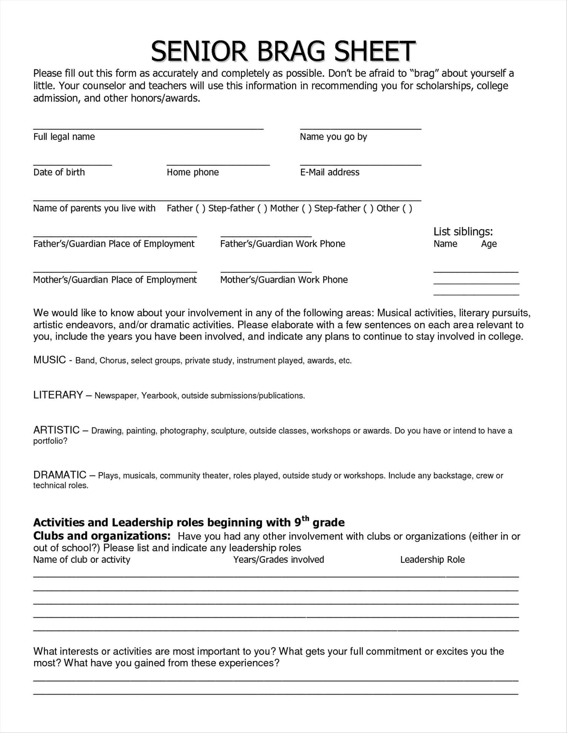 Brag Sheet Template For Letter Of Recommendation