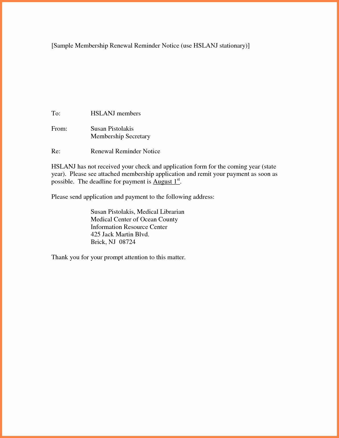 insurance renewal notice template  Lease Renewal Reminder Letter Template Samples | Letter Cover Templates