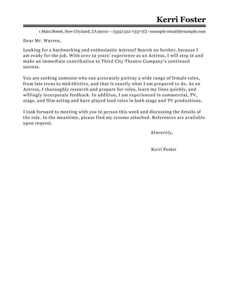 Monster Cover Letter Template - Cover Letter for Acting Role Acurnamedia