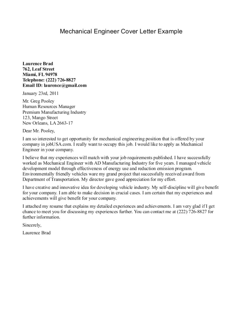 Mechanical Engineering Cover Letter Template - Cover Letter for Resume Examples for Students