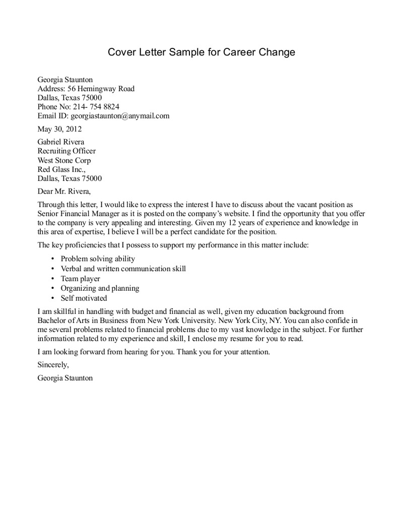 Change Of Address Letter Template - Cover Letter Sample Career Change Best Cover Letter Template Career