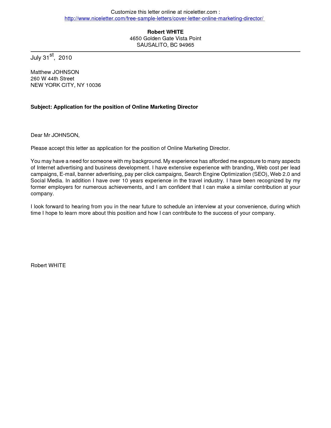 Online Letter Template - Cover Letters Cover Letter for Line Application Business