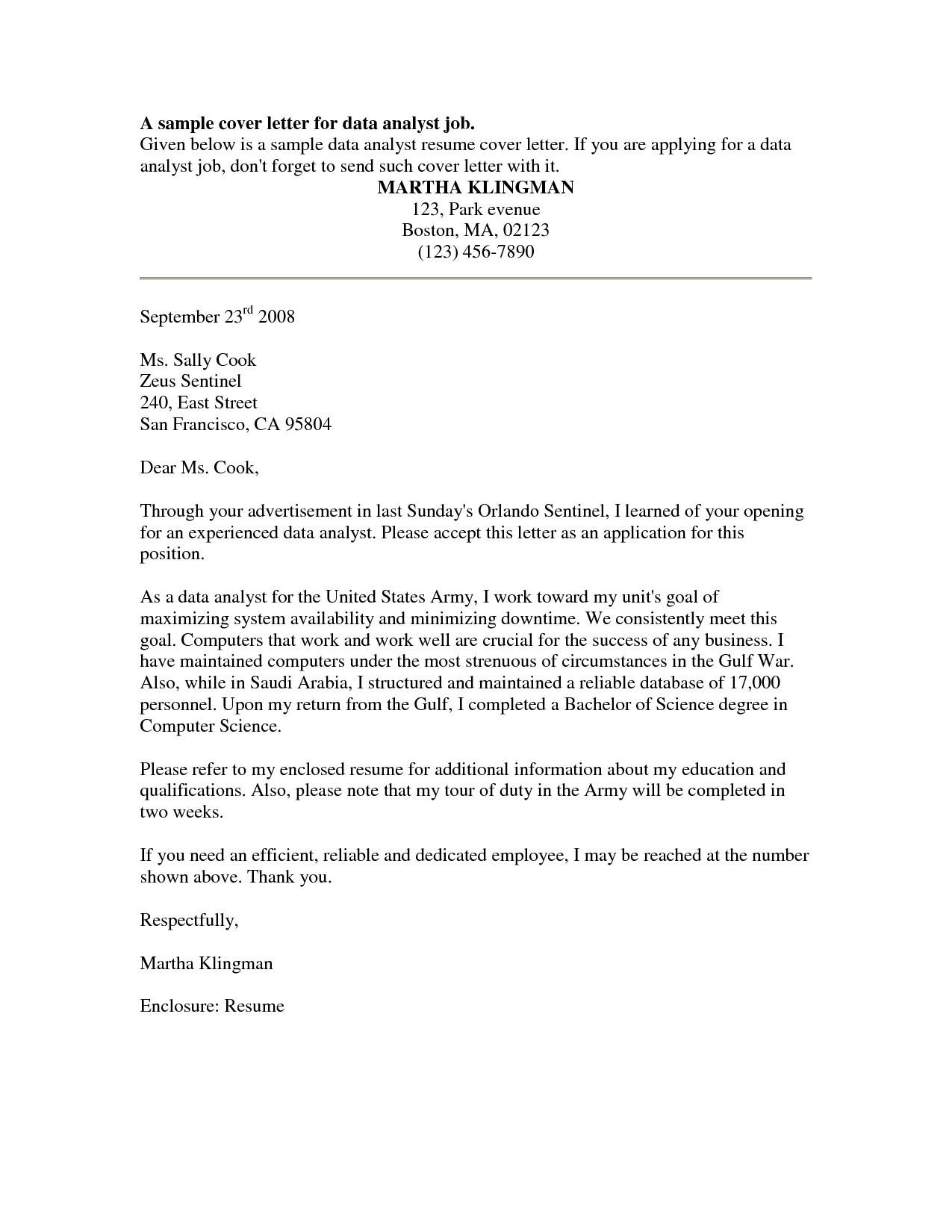 sample cover letter for internal position template collection