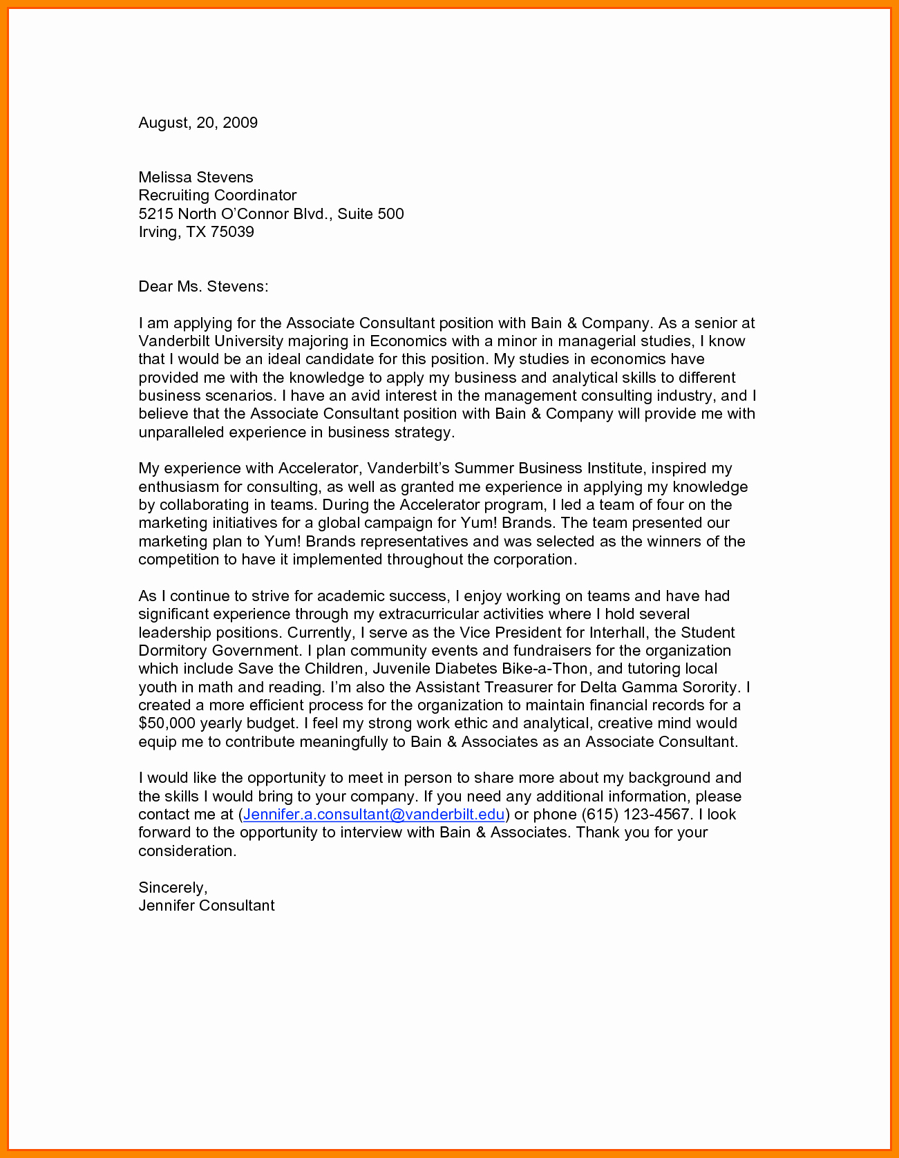 Modern Cover Letter Template - Cover Letters for Resumes Free Fresh Od Consultant Cover Letter