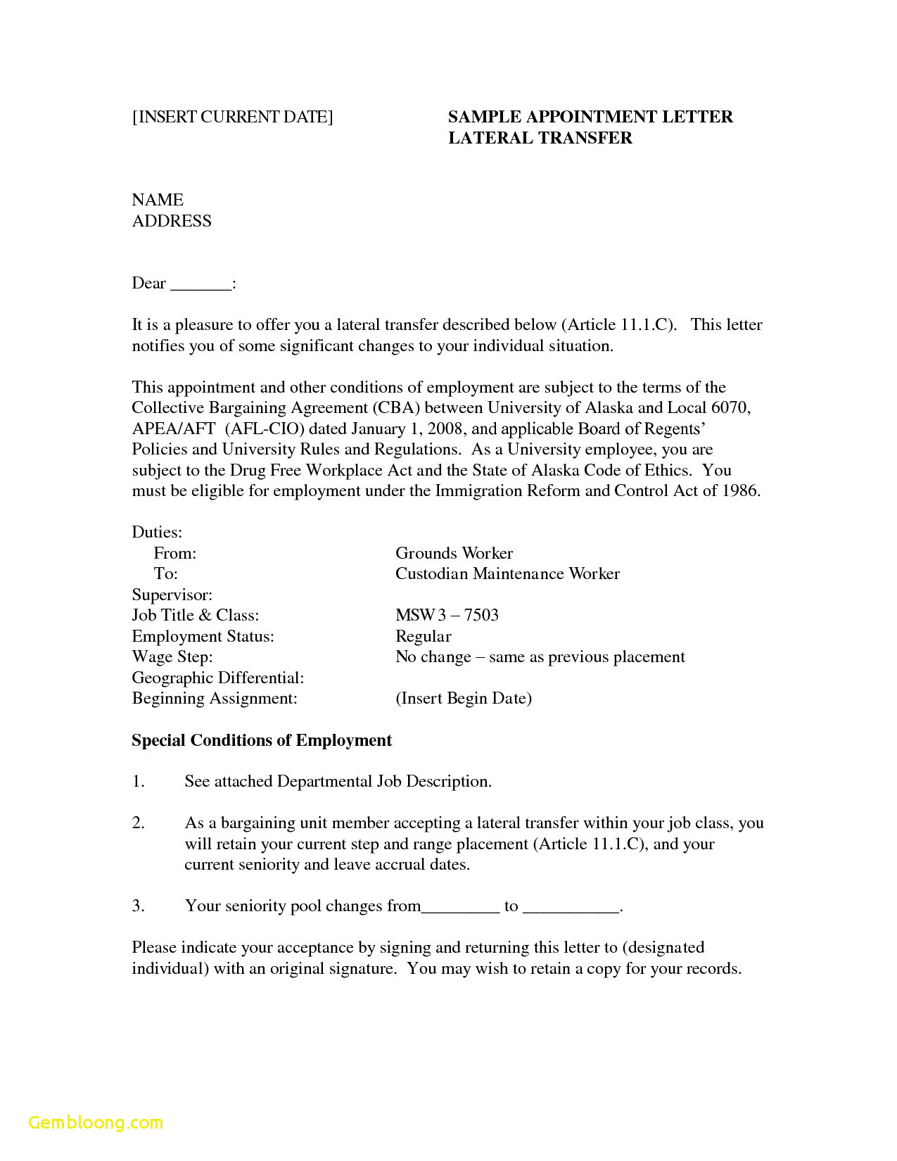 Job Application Letter Template Word Examples