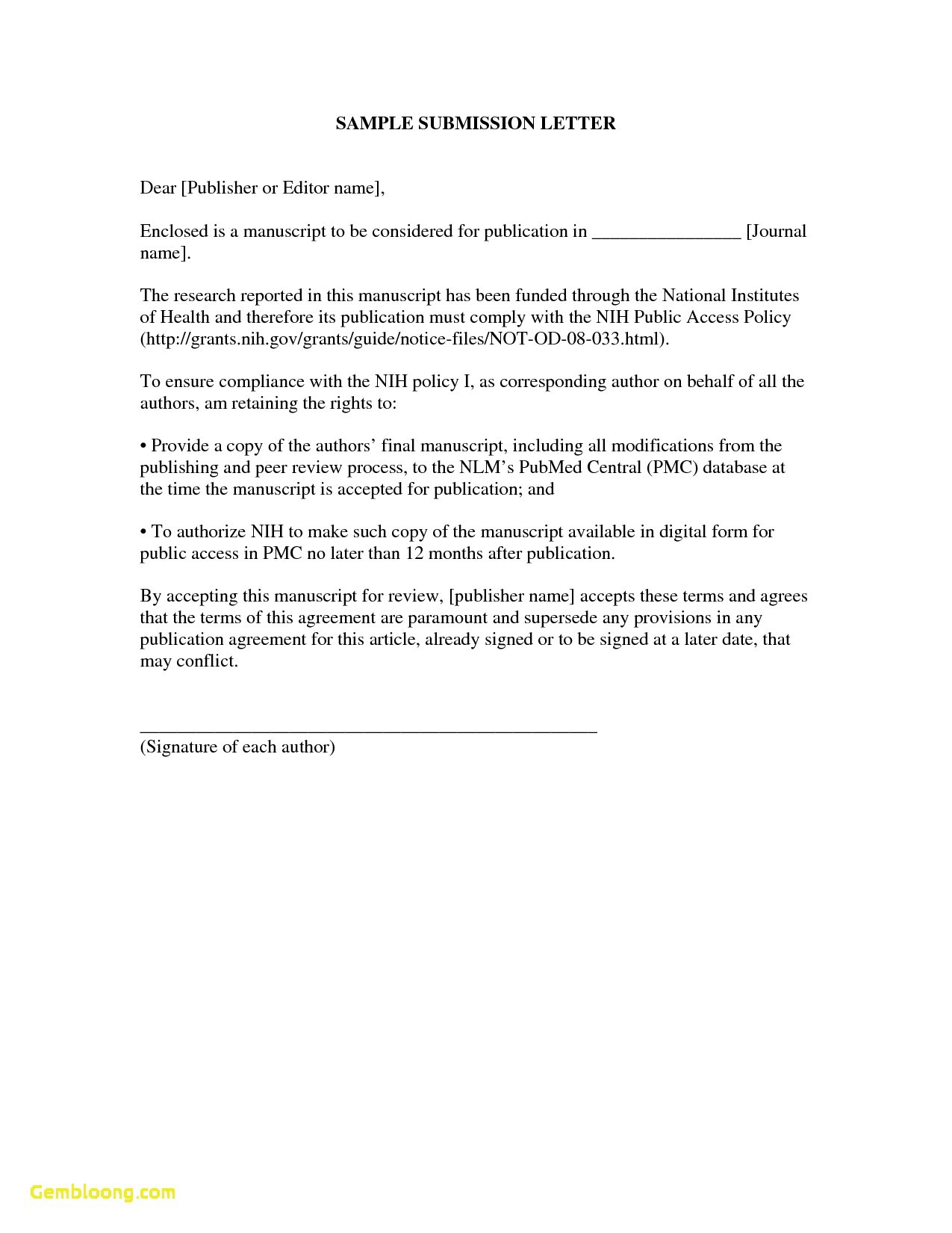 Pre Written Cover Letter Template - Covering Letter format for Document Submission