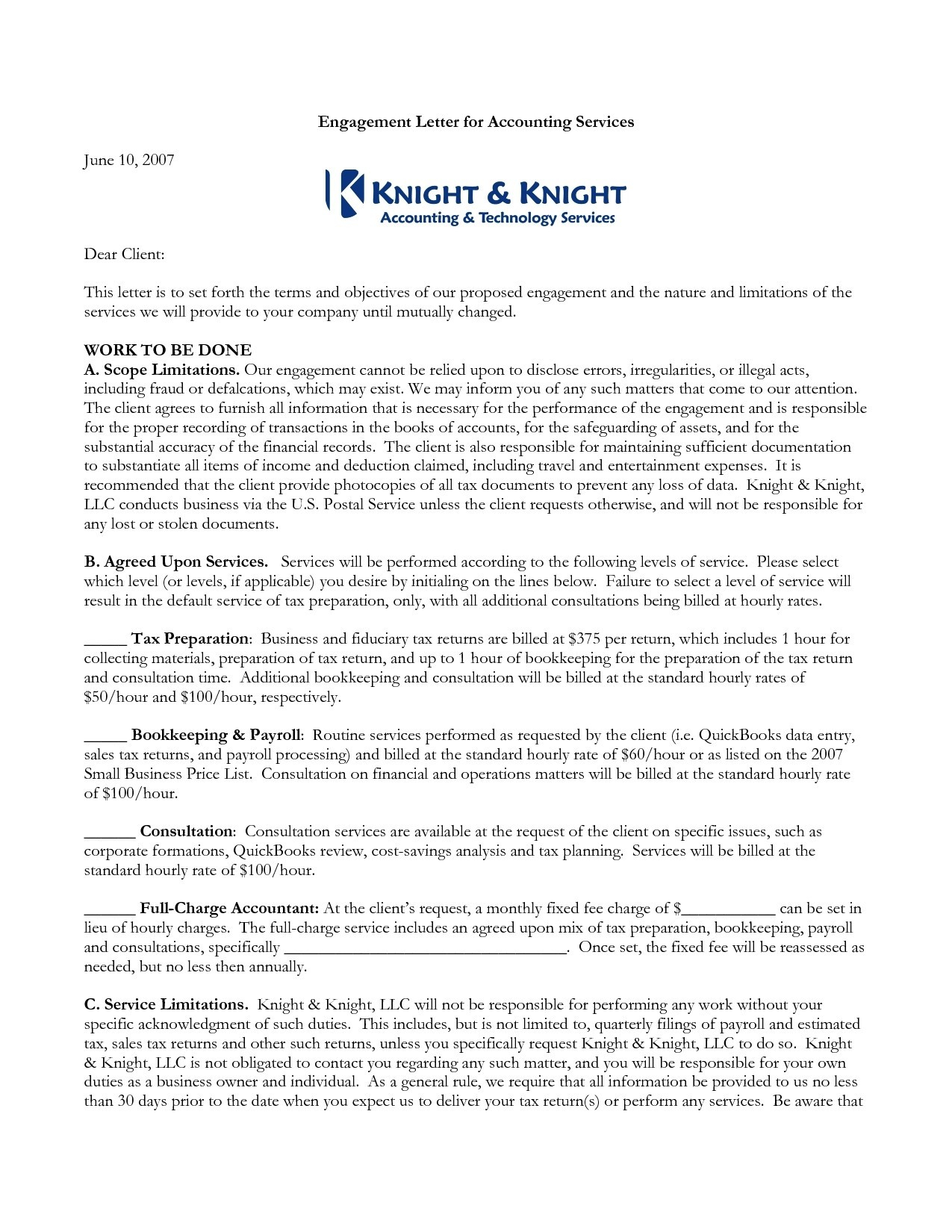 Tax Engagement Letter Template - Cpa Engagement Letter Template